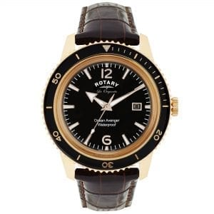 Rotary Les Originales Ocean Avenger Rose Gold Coloured Case Brown Leather Strap Mens Watch GS90097/04 40mmthis RotaryLes Originales Ocean Avenger Rose GoldColoured Case Brown Leather Strap Mens Watch GS90097/04 makes a sleek and refined style statement. Featuring a stunningblack dial, theGS90097/04 also has a sleek leather strapand a highly practicaldate window. This results in a stunning timepiece that makes the perfect addition to any wrist.Key Features:Quartz MovementBlack DialUnidirectional BezelThe Brand: RotaryFamed for his attention to detail and keen business acumen, Moise Dreyfuss established Rotary Watches in the Swiss town of La Chaux-de-Fonds in 1895. After a mere twelve years of trading, two further members of the Dreyfuss family, Georges and Sylvain, opened an office in Britain in order to facilitate the import of the family's watches. The UK proved to be the company's most lucrative market, and with sales booming, Rotary introduced its now iconic winged wheel logo in 1925. Following the outbreak of the Second World War, Rotary became the official timepiece supplier to the British Army, with the government's policy of mass conscription meaning that, once the war ended, there was a Rotary in practically every home. As the twentieth century progressed, Rotary became famed for its sponsorship of sporting events, the most notable of these being its partnership with the British Racing Motors F1 team in 1976 and its teaming up with Chelsea F.C. in 2015. Still operated and owned by the Dreyfuss family to this day, Rotary continues to produce the type of highly affordable and yet incredibly well-made timepieces that have defined the brand's output since its inception.
