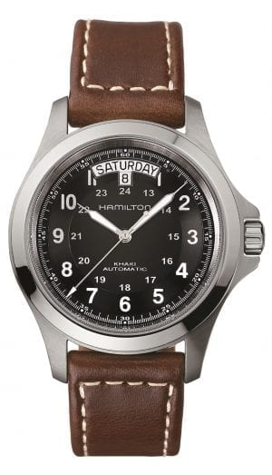 Hamilton Khaki Field Khaki King Automatic Mens Watch H64455533 40mmPaying tribute to Hamilton's storied heritage as a watch supplier to the U.S. military, this Hamilton Khaki Field Khaki King Automatic Mens Watch H64455533 40mm teams superb vintage styling with present day Swiss watchmaking precision. This timepiece is powered by an exclusive H-40 automatic caliber which offers up to 80 hours of power reserve. In terms of features, a day and date window can be found at the12 o'clock position with both 12 and 24 hour display found around the outer rim of the black dial. Theblack dial isprotected by sapphire glass and surronded by a silver stainless steel case. Finally,this watch is defined by its rugged and outdoorsy brown leather strap.This watch has a water resistance of 50 metres, making it suitable for light splashes but is not advised to be used for swimming.Key Features:Automatic MovementKhaki Field FamilyDay/Date Window12/24 Hour FormatBlack DialSilver Stainless Steel CaseBrown Leather StrapHamilton LogoH-40 Calibre50m Water ResistantStandard BuckleSapphire GlassThe Family: Khaki FieldRugged and ready for the outdoors, the Hamilton Khaki Field collection combines easy-to-red dials with bold styling. There are also plenty of complications on offer across the Khaki Field family, such as chronographs, day and date indicators and titanium case construction, meaning that this rugged appeal doesn't come at the expense of quality watchmaking.The Khaki Field range pays homageto the Hamilton watches used by theUnited States military in 1910.Also for the eagle eyed 'movie-goer' these watches have been worn on the big screen with a notable appearances include Liam Neeson in the crime thriller, A Walk Among The Tombstones.The Brand: HamiltonSince its foundation in 1892, Hamilton has amassed a reputation as the ultimate provider of accurate timekeeping combined with stylish design. In 1912, the company began producing pocket watches so accurate that they earned the title o