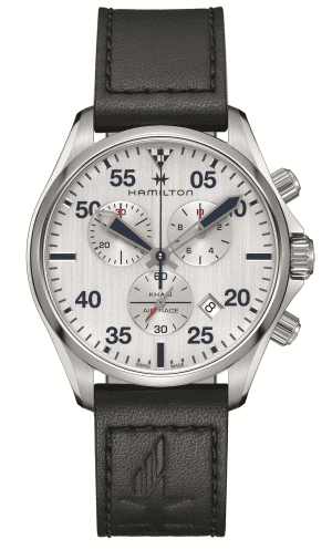 """Hamilton Khaki Aviation Pilot Red Bull Air Race Mens Watch H76712751 44mmDesigned to celebrate Hamilton as the Official Timekeeper of the 2018 Red Bull Air Race, thisHamilton Khaki Aviation Pilot Red Bull Air Race Mens Watch H76712751 44mm is a stunning blend of classic aviation style and striking Swiss watchmaking precision. Complementing the rugged leather strap is a Swiss-made quartz movement, with a chronograph complication further adding to this stunning functionality. Both a nod to Hamilton's storied past and its exciting future; the Hamilton Khaki Pilot Red Bull Air Race Black Leather Strap Men's Chronograph is the perfect commemoration of Hamilton's partnership with the Red Bull Air Race.This watch has a water resistance of 100 metres, making it suitable for swimming and snorkeling but should not be submerged to any significant depths.Key Features:Quartz MovementChronographsDate WindowStainless Steel CaseBlack Leather Strap100m Water ResistantSapphire GlassWhite DialSilver Stainless Steel CaseThe Family: Khaki Air RaceTo celebrate their role as Official Timekeeper of the Red Bull Air Race, Hamilton has released the special edition Khaki Air Race watch. Styled in either blue and grey to honour the official colours the Red Bull Air Race or black and orange to reflect the styling of the Team Hamilton plane, this collection of timepieces are defined by their simple styling and clean lines.The Brand: HamiltonSince its foundation in 1892, Hamilton Watch Company have developed a reputation for being a provider of accurate timekeeping. Hence they earned the title of """"The Watch of Railroad Accuracy"""", as a result of their highly accurate pocket watches.Hamilton earned a place in history, as they found themselves suppliers of watches to the US military in both world wars.The US Naval Lab invited the Hamilton Watch Company to create an American made chrono.There was a shortage of chronos available to the US Government during the First World War. Therefore they had to re"""