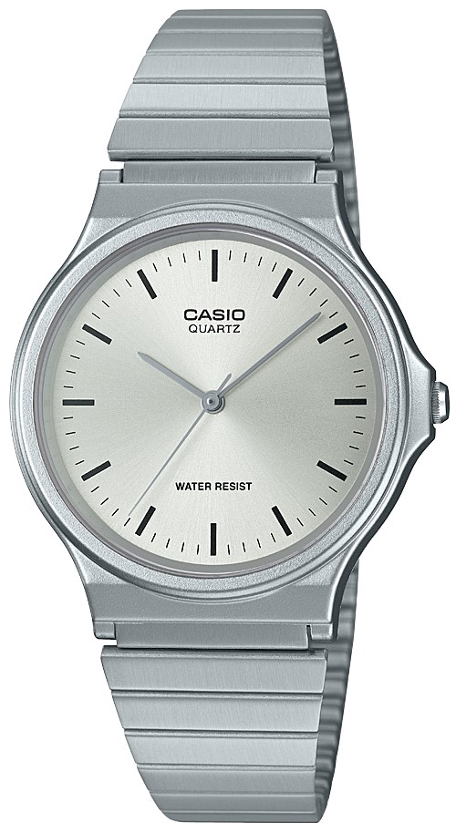 Casio Collection Quartz Silver Resin Case Steel Bracelet Ladies Watch MQ-24D-7EEF 35mmAs part of the Casio collection, thisCasio Collection Quartz Silver Resin Case Steel Bracelet Ladies Watch MQ-24D-7EEF 35mm has a simplistic yet classic look to it. In terms of the dial, the ever present Casio logo is found at the 12 o'clock position with the silver coloured hands powered by a quartz movement. The dial is protected by acrylic glass and a silver resin case. To equip this timepiece a silver stainless steel strap is fastened using a click closure buckle to sit comfortably around ones wrist.This watch has a water resistance of 50 metres, making it suitable for surface swimming but should not be submerged to any significant depths.Key Features:Casio CollectionQuartz MovementSilver Resin CaseSilver Stainless Steel BraceletAcrylic Glass50m Water ResistantClick ClosureThe Brand: CasioCasio was established in 1946 by Japanese engineer Tadao Kashio. The company entered the timepiece market in 1974 with the release of the Casiotron, the world's first Auto Calendar watch. Only eleven years after entering this field, Casio completely reshaped global thought about the function a watch should perform with the release of the pioneering and now legendary G-Shock family. Innovation and world firsts have defined the company's history ever since, the most striking of these being the release of the first ever touch screen watch in 1991, 24 years before the Apple Watch, and the first ever wrist camera watch in 2000. In short, Casio was producing smartwatches decades before the term had even been coined. Add to this the hipster popularity of the company's retro designs, and Casio has firmly cemented its reputation as a famously reliable and precise name in both analog and digital watches.
