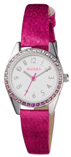 Tikkers Quartz Pink Glitter Strap White Dial Girls WatchThis Tikkers Quartz Pink Glitter Strap White Dial Girls Watch is a perfect addition to any girls wrist. Firstly, a white dial is complimented by silver indexes and hands, of which are powered by a quartz movement. The tikkers logo can be seen at the 12 o'clock position in a friendly pink. Also, a metallic case sits around the dial with sequins placed on-top to provide a shine to the watch. Then a glittery pink strap can be fastened using a standard buckle.Key Features:TikkersTime TeacherQuartz MovementWhite DialPink StrapStandard BuckleThe Brand: TikkersTikkers time teachers are the perfect accessory for any child. There is a whole host of Tikkers watches available for both boys and girls. Also, if they are learning to tell the time then this is a great way to do so! With so many different colours and styles coming with a durable fabric or silicone strap you are sure to find the right one.If you have any questions pleaseclick hereClick here to join ourfacebookandInstagram!