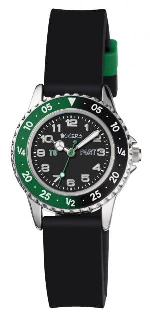 Tikkers QuartzGreen Black Rubber Boys WatchThis Tikkers QuartzGreen Black RubberBoys Watch is a brilliant piece for boys looking to tell the time. Firstly, a black dial is complimented by silver indexes and hands, of which are powered by a quartz movement. Furthermore, the bezel is split into blue and red which each labelled 'past' and 'to' to easily distinguish which phrase to use. A metallic case and plastic glass provide the dial with some protection. Finally, a standard buckle is used to fasten a black rubber strap.Key Features:TikkersTime TeacherQuartz MovementBlack DialBlack StrapStandard BuckleThe Brand: TikkersTikkers time teachers are the perfect accessory for any child. There is a whole host of Tikkers watches available for both boys and girls. Also, if they are learning to tell the time then this is a great way to do so! With so many different colours and styles coming with a durable fabric or silicone strap you are sure to find the right one.If you have any questions pleaseclick hereClick here to join ourfacebookandInstagram!
