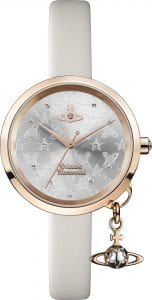 Vivienne Westwood Exclusive Bow Rose Gold Steel Case Cream Leather Strap Ladies Watch VV139WGYCM 32mmExclusive to WatchNation, this Vivienne Westwood Exclusive Bow Rose Gold Steel Case Cream Leather Strap Ladies Watch (VV139WGYCM) 32mm gives a timeless style and a distinctly Vivienne Westwood twist through the addition of the iconic Vivienne Westwood logo to the grey dial embossed with stars and orbs. A rose gold stainless steel and cream leather strap add a luxury feel, resulting in a timepiece that is fashionable and yet functional. To round off this epic timepiece, a rose gold coloured bow charm completes a brilliant masterpiece. Key Features: 30m Water ResistantQuartz MovementAnalogue DisplayPin & Buckle ClaspGrey DialShiny Case FinishMineral Glass Vivienne Westwood LogoBow CharmSwiss Movement The Brand: Vivienne WestwoodPunk pioneer Vivienne Westwood has been making the fashion world sit up and take notice for decades. This attitude of difference and non-compliance was translated to the world of wristwear in 1993 following the introduction of the revolutionary Orb watch. Flourishing with innovation and devotion, Vivienne Westwood timepieces were unlike anything that had ever been seen before, featuring subjects such as nautical pirates and classic effervescent works of art and constructed from a diverse and bold range of materials. No longer was a watch simply a timekeeping tool, it was now a bona-fide fashion accessory. Fast-forward to the present day and this ethos is still at the heart of every Vivienne Westwood timepiece, with the present range of offerings taking inspiration from every phase in Vivienne's storied design history.