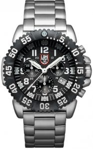 Luminox Navy SEAL Colormark Chrono 3180 Series Stainless Steel Men's Watch XS.3182.LBy adding a chronograph model to the Steel Colormark series, Luminox has kicked one of its most popular lines up a gear. This Luminox Navy SEAL Colormark Chrono 3180 Series Stainless Steel Men's Watch (XS.3182) is testament to this, featuring a unidirectional ratcheting bezel and highly scratch-resistant tempered mineral glass crystal to protect the chronograph dial, with 200m of water resistance also ensuring ultimate toughness.SKUXS.3182.LFamilyNavy SEAL ColormarkMovementSwiss QuartzDial ColourBlackCase Size44mCase MaterialBrushed stainless steelCase BackScrewin casebackCrownScrew in crownGlassHardened mineral crystalBezelUni-directional rotatingStrap TypeBraceletStrap MaterialStainless steelBezel LLTOrangeLLT on Dial 12HOrangeLLT on Dial 1-1 1HGreenLLT on Hour HandGreenLLT on Minute HandOrangeLLT on Secon HandGreen Super-LumiNovaIlluminationNight Vision Tubes (25 Years)Guarantee2-Year Manufacturer'sWater Resistency200m