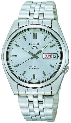 Seiko 5 Automatic Silver Dial Stainless Steel Men's Watch SNK355K1This Seiko 5 White Dial Stainless Steel Men's Watch (SNK355K1) is driven by a 21-jewel automatic movement, it is a classic addition to the Seiko 5 family. The 21 jewel movement improves the accuracy of the watch, through the placement of two a ruby between two moving parts to reduce the wearing. A sleek silver stainless steel case and mineral glass protects the dial.Key Features:Exclusive Seiko 7S36 Calibre21-Jewel Automatic MovementLuminous Hands and MarkersOpen Case BackDay-Date WindowWater Resistant to 30mThe Family: Seiko 5The Seiko 5 family has set the standard in affordable, rugged and stylish watches since 1963. They incorporate simplicity, but seriousness. The name of the Seiko 5 derives from its five key attributes, which Seiko promised to include in every watch that belonged to the family. They are: automatic winding, displaying the day and date in a single window, water resistance, a recessed crown at the 4 o'clock position and a durable metal bracelet.1963 marked the year that the Seiko 5 acted as a catalyst in the horological revolution in automatic watchmaking. Even after being in the market for over 50 years, albeit the Seiko 5 still remains as cool and relevant as ever. Though this serves as proof that expert craftsmanship and elegant design will never go out of fashion.The Brand: SeikoCeaseless determination to innovate in every aspect of the watchmaker's art is what defines Seiko's 135-year history. By embracing this ethos, Seiko has been responsible for a string of industry-leading advances in the technology of time. Notably, the creation of the world's first quartz watch in 1969. Or equally impressive the creation of the world's first TV watch in 1982. And even more relevant today, with our abhorrent use of non-renewable energy sources, Seiko's Kinetic. This watch had the ability to generate its own power from the movement of the wearer, it was released in 1988. The listed technolo