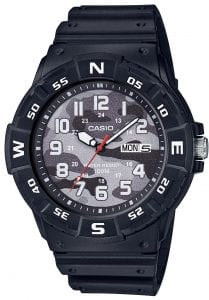 Casio Collection Camo Dial Black Resin Mens Watch MRW-220HCM-1BVEF 46mmThis Casio Collection Camo Dial Black Resin Mens Watch MRW-220HCM-1BVEF 46mm teams legendary Casio precision and reliability with timelessly sleek styling. In terms of the camouflage dial, the ever present Casio logo is found by the 12 o'clock position as well as a day/date window at the 3 o'clock index. White coloured hands are powered by a quartz movement. The dial is protected by a black resin case and acrylic glass. To equip this timepiece, a standard buckle is used to fasten a black resin strap. This watch has a water resistance rating of 100 metres, making it suitable for swimming and snorkelling but should not be submerged to any significant depths.Key Features:Camo DialBlack Resin CaseBlack Resin StrapDay/Date Window12/24 Hour DisplayAcrylic Glass3 Year Battery Life100m Water ResistanceQuartz MovementThe Brand: CasioCasio was established in 1946 by Japanese engineer Tadao Kashio. The company entered the timepiece market in 1974 with the release of the Casiotron, the world's first Auto Calendar watch. Only eleven years after entering this field, Casio completely reshaped global thought about the function a watch should perform with the release of the pioneering and now legendary G-Shock family. Innovation and world firsts have defined the company's history ever since, the most striking of these being the release of the first ever touch screen watch in 1991, 24 years before the Apple Watch, and the first ever wrist camera watch in 2000. In short, Casio was producing smartwatches decades before the term had even been coined. Add to this the hipster popularity of the company's retro designs, and Casio has firmly cemented its reputation as a famously reliable and precise name in both analog and digital watches.