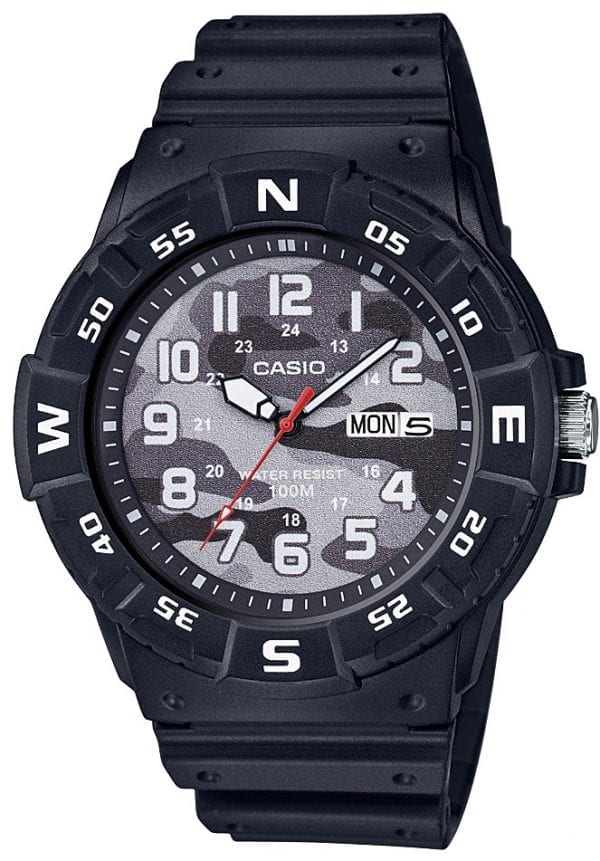 Casio Collection Camo Dial Black Resin Mens Watch MRW-220HCM-1BVEF 46mmThis Casio Collection Camo Dial Black Resin Mens Watch MRW-220HCM-1BVEF 46mm teams legendary Casio precision and reliability with timelessly sleek styling. In terms of the camouflagedial, the ever present Casio logo is found by the 12 o'clock position as well as a day/date window at the 3 o'clock index.White coloured hands are powered by aquartz movement. The dial is protected by ablack resin case andacrylic glass.To equip this timepiece, astandard buckle is used to fasten a black resin strap.This watch has a water resistance rating of 100 metres, making it suitable for swimming and snorkelling but should not be submerged to any significant depths.Key Features:Camo DialBlack Resin CaseBlack Resin StrapDay/Date Window12/24 Hour DisplayAcrylic Glass3 Year Battery Life100m Water ResistanceQuartz MovementThe Brand: CasioCasio was established in 1946 by Japanese engineer Tadao Kashio. The company entered the timepiece market in 1974 with the release of the Casiotron, the world's first Auto Calendar watch. Only eleven years after entering this field, Casio completely reshaped global thought about the function a watch should perform with the release of the pioneering and now legendary G-Shock family. Innovation and world firsts have defined the company's history ever since, the most striking of these being the release of the first ever touch screen watch in 1991, 24 years before the Apple Watch, and the first ever wrist camera watch in 2000. In short, Casio was producing smartwatches decades before the term had even been coined. Add to this the hipster popularity of the company's retro designs, and Casio has firmly cemented its reputation as a famously reliable and precise name in both analog and digital watches.