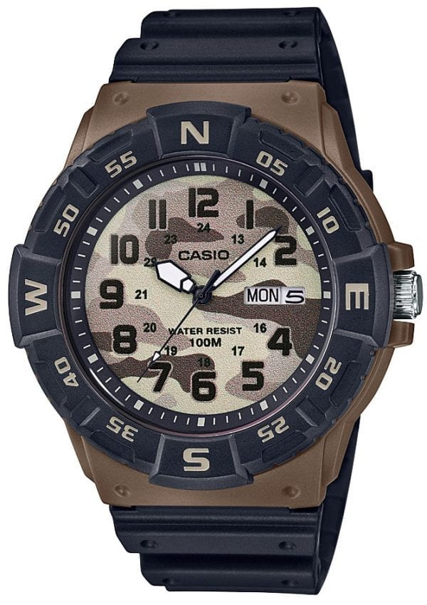 Casio Collection Camo Dial Black Brown Resin Mens Watch MRW-220HCM-5BVEF 46mmThis Casio Collection Camo Dial Black Brown Resin Mens Watch MRW-220HCM-5BVEF 46mm teams legendary Casio precision and reliability with timelessly sleek styling. In terms of the camouflage dial, the ever present Casio logo is found by the 12 o'clock position as well as a day/date window at the 3 o'clock index. White coloured hands are powered by a quartz movement. The dial is protected by a black resin case and acrylic glass. To equip this timepiece, a standard buckle is used to fasten a black resin strap. This watch has a water resistance rating of 100 metres, making it suitable for swimming and snorkelling but should not be submerged to any significant depths.Key Features:Camo DialBlack Brown ResinQuartz MovementDay/Date Window100m Water Resistant12/24 Hour DisplayStandard BuckleAcrylic GlassThe Brand: CasioCasio was established in 1946 by Japanese engineer Tadao Kashio. The company entered the timepiece market in 1974 with the release of the Casiotron, the world's first Auto Calendar watch. Only eleven years after entering this field, Casio completely reshaped global thought about the function a watch should perform with the release of the pioneering and now legendary G-Shock family. Innovation and world firsts have defined the company's history ever since, the most striking of these being the release of the first ever touch screen watch in 1991, 24 years before the Apple Watch, and the first ever wrist camera watch in 2000. In short, Casio was producing smartwatches decades before the term had even been coined. Add to this the hipster popularity of the company's retro designs, and Casio has firmly cemented its reputation as a famously reliable and precise name in both analog and digital watches.