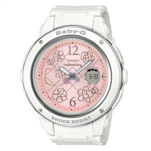 Casio Baby-G Hello Kitty Collaboration Quartz Pink Dial White Resin Ladies Watch BGA-150KT-7BER