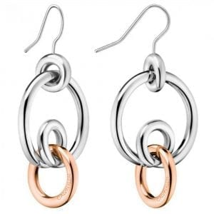 Calvin Klein Two Tone Silver Rose Gold Stainless Steel Earrings KJ9PPE200200This Calvin Klein Two Tone Silver Rose Gold Stainless Steel Earrings KJ9PPE200200 is a perfect piece of jewellery for the ladies. The earrings are made from stainless steel with a two tone silver and rose gold PVD plating. The pendant compromises of four rings interlocked with each other, with the Calvin Klein logo engraved on it.Key Features:Clink FamilyTwo Tone Silver Rose GoldStainless Steel MaterialCalvin Klein LogoThe Brand: Calvin KleinCalvin Klein is one of the truly iconic cultural forces to emerge from the twentieth century. Based on bold, progressive thinking and seductively minimal aesthetic, the company was founded as a Manhattan coat shop by its namesake in 1968, and has since become a global lifestyle phenomenon. In line with this design mission is Calvin Klein's range of timepieces. Defined by their trademark simplicity and constantly evolving to match contemporary trends, the collection allows the wearer to sport a fashion legend proudly on their wrist.
