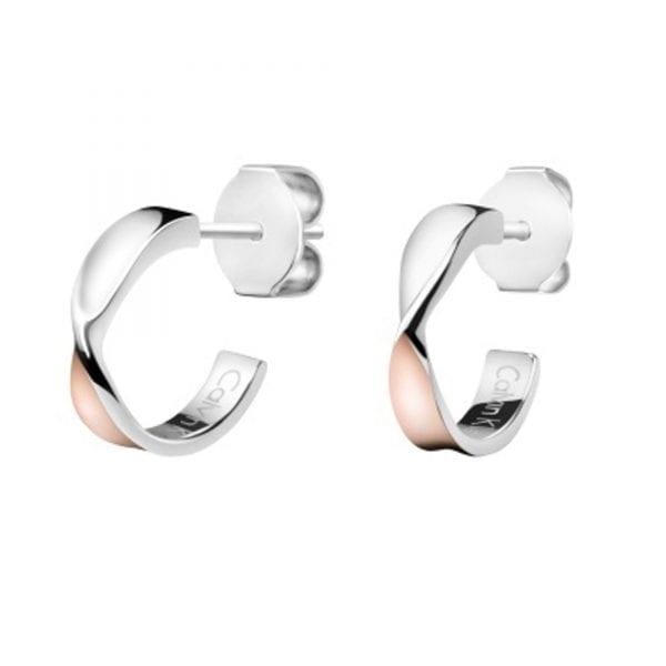 Calvin Klein Stainless Steel Rose Gold Twist Women's Stud Earrings