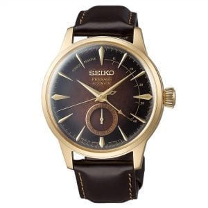 Seiko Limited Edition Presage Old Fashioned Cocktail Brown Gold Men's Watch SSA392J1This Seiko Limited Edition Presage Old Fashioned Cocktail Brown Gold Men's Watch SSA392J1 is part of Seiko's distinctive series of mechanical watches, with a cocktail bar theme, displays delightful charm with subtle sophistication. Classic cocktails mixed by and award winning bartender Hisashi Kishi provide the inspiration for the exciting blend of colours in this collection, such as the dark brown of an Old Fashioned. A cocktail brown dial is compimented by gold PVD stainless steel indexes and hands which in turn are powered by an automatic 23 jewel 4R35 movement.  Above the 6 o'clock index is a subdial which shows the date with a power reserve indicator at the top right of the dial. Surrounding the dial is hardlex crystal glass and a beautiful gold PVD stainless steel case. Finally, a stitched brown calfskin leather strap can be fastened using a three fold clasp.This watch has a water resistance of 50 metres, making it suitable for surface swimming.For all you Seiko enthusiasts, this premium timepiece has been made and produced in Japan, indicated by the suffix 'J'. Seiko watches made in Japan are notoriously hard to obtain outside of Japan due to the highest quality of craftmanship and astonishing features that come in each individual timepiece. We have a range of Japanese watches here at Watchnation but in limited quantities, so if you are looking to add to your collection then this is the perfect place for you.Key Features:Limited Edition 8,000 PiecesPresage FamilyOld Fashioned Cocktail InspiredBrown DialGold PVD Steel CaseBrown Leather StrapDate SubdialAutomatic Movement50m Water ResistantHardlex Crystal Glass+-45 Seconds Per DayThree Fold Clasp23 JewelsRotating Compass Inner Ring The Brand: SeikoSeiko's 135-year history has been marked by a ceaseless determination to innovate in every aspect of the watchmaker's art. By embracing this mantra, Seiko has been responsible for a string of industry-leading advances in the technology of time, such as the world's first quartz watch, the world's first TV watch, and the Seiko Kinetic, the first watch ever to generate its own electricity from the movement of the wearer. Seiko are unique in that they manufacture every aspect of every watch in-house, with this ruthless pursuit of perfection even including growing their own quartz crystals and sapphires.
