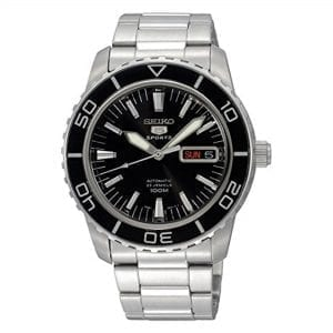 "The Watch: Seiko SNZH55K1Driven by a 23-jewel automatic movement, this Seiko 5 Sports Automatic Black Dial Men's Watch (SNZH55K1) features luminous hands, a rotating black bezel, a stainless steel case and bracelet and is water resistant to 100m. Key Features:Seiko 7S36 calibire, 23-jewel automatic movement100m water resistantHardlex glassDay and date displayOpen back caseLuminous hands and markersUnidirectional rotating bezel The Family: Seiko 5The Seiko 5 family has set the standard in affordable, rugged and stylish watches since 1963. Designed to be simple but serious, the Seiko 5 is so-called due to its five key attributes: automatic winding, displaying the day and date in a single window, water resistance, a recessed crown at the 4 o'clock position and a durable metal bracelet. Released in order to meet the demands of the revolutionary baby-boomer generation, the Seiko 5 collection is just as popular to this day, proof that expert craftsmanship and elegant design will never go out of fashion. The Brand: SeikoSeiko's 135-year history has been marked by a ceaseless determination to innovate in every aspect of the watchmaker's art. By embracing this mantra, Seiko has been responsible for a string of industry-leading advances in the technology of time, such as the world's first quartz watch, the world's first TV watch, and the Seiko Kinetic, the first watch ever to generate its own electricity from the movement of the wearer. Seiko are unique in that they manufacture every aspect of every watch in-house, with this ruthless pursuit of perfection even including growing their own quartz crystals and sapphires. Who We AreWatchNation is proud to be an authorized, established and respected supplier of Seiko watches. We stock a broad and exciting range of these superb timepieces both online and in store. Visiting us in store, located at 15-17 Charles Street, Hoole, Chester, CH2 3AZ, gives you the opportunity to take a first-hand look at our fantastic range of high-quality timepieces, with our friendly team of staff always on hand to use their decades of experience to offer helpful advice, useful information and expert guidance. If you can't pay a visit to our store, then our online delivery service guarantees that your latest timepiece will go from checkout to your wrist in a fast and reliable manner. These services are all a product of the motto on which WatchNation was founded and will forever operate – ""Time for the People."""