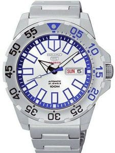 Seiko 5 Sports Baby 'Ice Monster' 'Snow Monster' Silver Stainless Steel Blue Dial Men's Watch