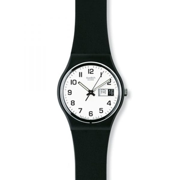 The Watch: Swatch Once Again 34mm Case Ladies Watch GB743Clean and simple, this Swatch Once Again Unisex Watch (GB743) features a robust silicone strap and a day and date window. Key Features:Swiss-Made Quartz MovementDay/Date WindowPlastic CaseSilicone StrapWater Resistant to 30m The Brand: SwatchSwatch watches are globally-renowned for their trademark combination of quality Swiss watchmaking, pioneering use of plastic cases and straps, and eye-catching designs. There is a Swatch watch to suit every age, taste and lifestyle, with this variety and sense of difference ensuring that Swatch watches remain some of the most popular and sought after currently manufactured.
