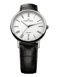 Maurice LaCroix Les Classiques Automatic White Dial Black Leather Strap Watch LC6067-SS001-110-1