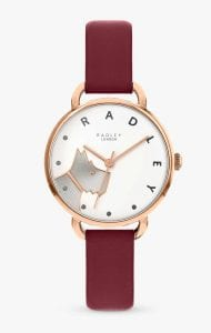 Radley Wood Street Quartz Dog White Dial Red Leather Strap Ladies Watch RY2874