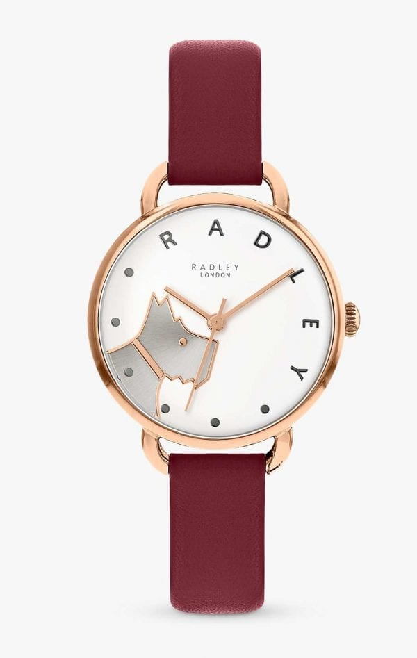 Radley Wood Street Quartz Dog White Dial Red Leather Strap Ladies Watch RY2874