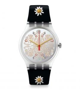 Swatch Revival Recreation BergstrusslI9 Quartz Silver Floral Dial Black Silicone Strap Watch SUOK142