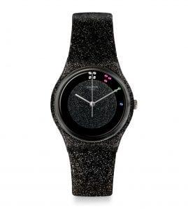 Swatch XMAS Scintillante Quartz Black Dial Glittery Leather Strap Ladies Watch GZ335S