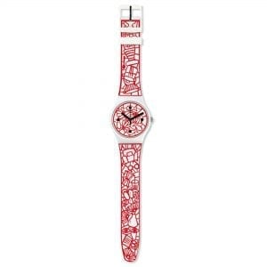 Swatch Cutotto Embossed Strap 41mm Case Ladies Watch SUOZ259CThis Swatch Cutotto Embossed Strap 41mm Case Ladies Watch SUOZ259C perfectly counterbalances its red designed strap with a calm and composed white dial and case, with this all being underpinned by high-quality Swiss watchmaking.Key Features:30m Water ResistantSwiss-Made Quartz MovementPlastic CaseSilicone StrapThe Brand: SwatchSwatch watches are globally-renowned for their trademark combination of quality Swiss watchmaking, pioneering use of plastic cases and straps, and eye-catching designs. There is a Swatch watch to suit every age, taste and lifestyle, with this variety and sense of difference ensuring that Swatch watches remain some of the most popular and sought after currently manufactured.