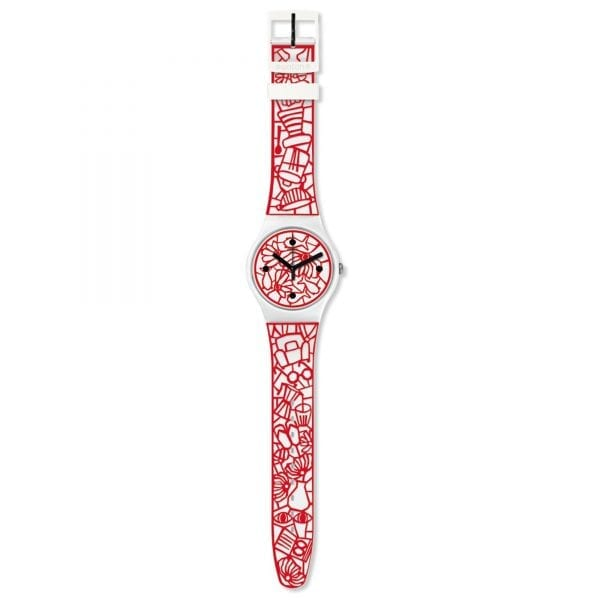 Swatch Cutotto Embossed Strap 41mm Case Ladies Watch SUOZ259CThis SwatchCutotto Embossed Strap 41mm Case Ladies Watch SUOZ259C perfectly counterbalances its red designed strap with a calm and composed white dial and case, with this all being underpinned by high-quality Swiss watchmaking.Key Features:30m Water ResistantSwiss-Made Quartz MovementPlastic CaseSilicone StrapThe Brand: SwatchSwatch watches are globally-renowned for their trademark combination of quality Swiss watchmaking, pioneering use of plastic cases and straps, and eye-catching designs. There is a Swatch watch to suit every age, taste and lifestyle, with this variety and sense of difference ensuring that Swatch watches remain some of the most popular and sought after currently manufactured.