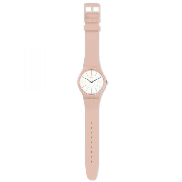 """The Watch: Swatch Beigesounds Matte Beige Ladies' WatchThis Swatch Beigesounds Matte Beige Ladies' Watch (SUOT102) teams clean and simple styling with a highly reliable and precise quartz movement.Key Features:Swiss-Made Quartz MovementPlastic CaseSilicone StrapWater Resistant to 30mThe Brand: SwatchSwatch watches are globally-renowned for their trademark combination of quality Swiss watchmaking, pioneering use of plastic cases and straps, and eye-catching designs. There is a Swatch watch to suit every age, taste and lifestyle, with this variety and sense of difference ensuring that Swatch watches remain some of the most popular and sought after currently manufactured.Who We AreWatchNation is proud to be an authorized, established and respected supplier of Swatch watches. We stock a broad and exciting range of these superb timepieces both online and in store. Visiting us in store, located at 15-17 Charles Street, Hoole, Chester, CH2 3AZ, gives you the opportunity to take a first-hand look at our fantastic range of high-quality timepieces, with our friendly team of staff always on hand to use their decades of experience to offer helpful advice, useful information and expert guidance. If you can't pay a visit to our store, then our online delivery service guarantees that your latest timepiece will go from checkout to your wrist in a fast and reliable manner. These services are all a product of the motto on which WatchNation was founded and will forever operate – """"Time for the People."""""""