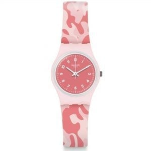 Swatch Core Refresh Camourose Pink Camouflage Quartz Ladies Watch LP157 37mmThisSwatch Core Refresh Camourose Pink Camouflage Quartz Ladies Watch LP157 37mm blends a stylish look with bubblegum pink. The pink dial is complimented by white indexes and hands, of which are powered by a quartz movement. Surrounding the dial is a white plastic case and glass to protect the dial. Finally, a pink camo print silicone strap is fastened using a standard buckle.This watch has a water resistance of 30 metres, making it suitable for light splashes.Key Features:Core Refresh CollectionPink DialPink Camo Silicone StrapWhite Plastic CaseStandard Buckle30m Water ResistantQuartz MovementThe Family: Core RefreshThe family is part of the new 2019 Autumn and Winter collection. The collection takes the style from some of Swatch's most known pieces and adds a refreshing twist to them.The Brand: SwatchSwatch watches are globally-renowned for their trademark combination of quality Swiss watchmaking, pioneering use of plastic cases and straps, and eye-catching designs. There is a Swatch watch to suit every age, taste and lifestyle, with this variety and sense of difference ensuring that Swatch watches remain some of the most popular and sought after currently manufactured.