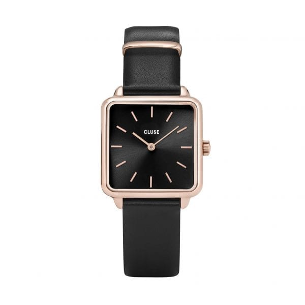 CLUSE Minuit Square Dial Rose Gold PVD Case Black Leather Strap Ladies Watch CW0101207011