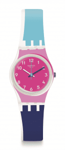 Swatch Attraverso Blue Strap Pink Case Ladies Watch LW166