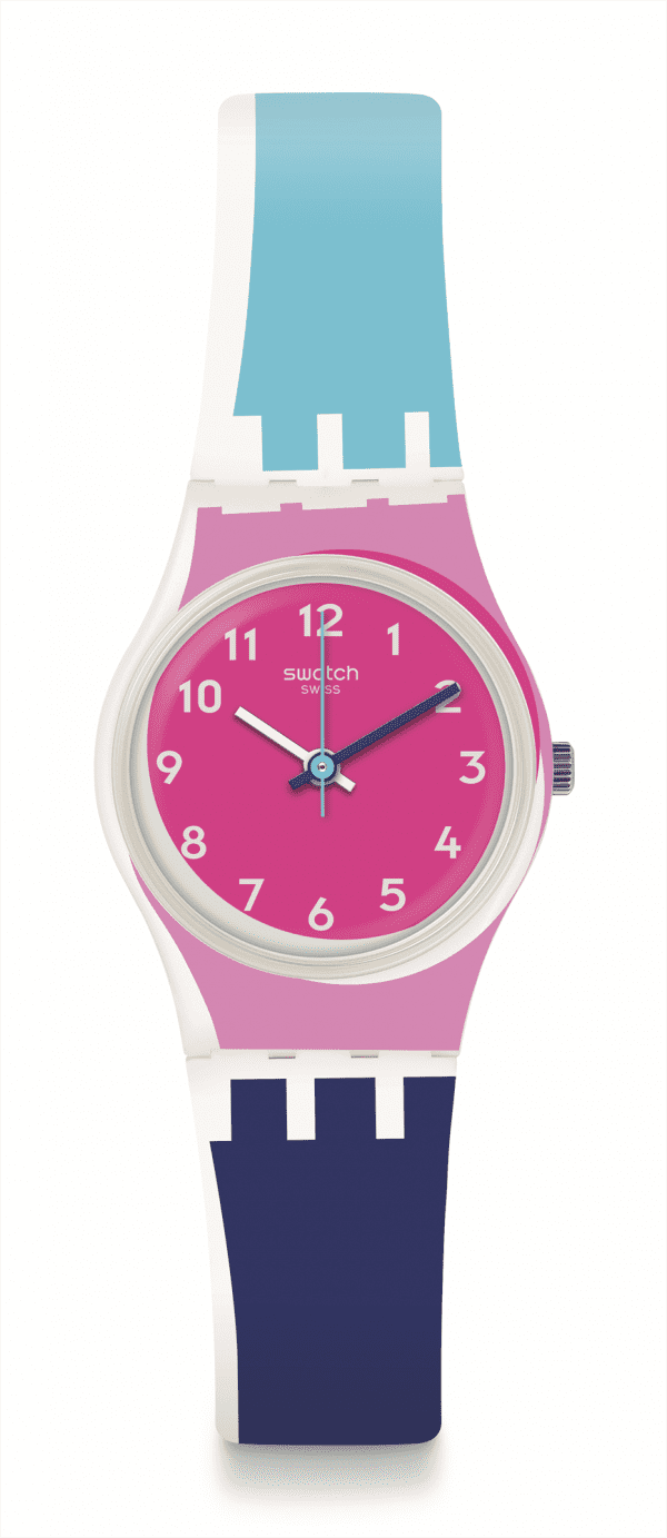 Swatch Attraverso Blue Strap Pink Case Ladies Watch LW166