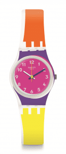 Swatch Sun Through Yellow And Orange Strap Ladies Watch LW165
