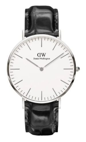 While on holiday halfway around the world, Filip Tysander got talking to a distinctly British gentleman wearing a vintage watch on an old, weathered NATO strap, whose look combined unpretentious yet impeccable style. The man's name was Daniel Wellington, and it is his style that inspired Tysander to launch one of the most successful and sought after watch brands of recent times. Thin, elegant and simple, Daniel Wellington watches are timelessly styled; with the addition of a fully interchangeable strap meaning the wearer can create a different watch for every day of the week. Favoured by global style icon Kendall Jenner, Daniel Wellington watches bring a minimalist aesthetic into the modern age.Daniel Wellington's Classic Collection is proof that minimalism will remain forever fashionable. The company's original and most enduringly popular line, each watch in the range allows the wearer a subtle yet unmistakable statement about their style.This Daniel Wellington Classic Reading Watch has a 40mm White Dial which is protected by a stainless steel casing. The watch is finished off with a black leather strap that fastens with a standard buckle. Daniel Wellington watches are splash resistent with a water resistence of 3ATM. All Daniel Wellington watches come with a 2 year manufacturers warranty.