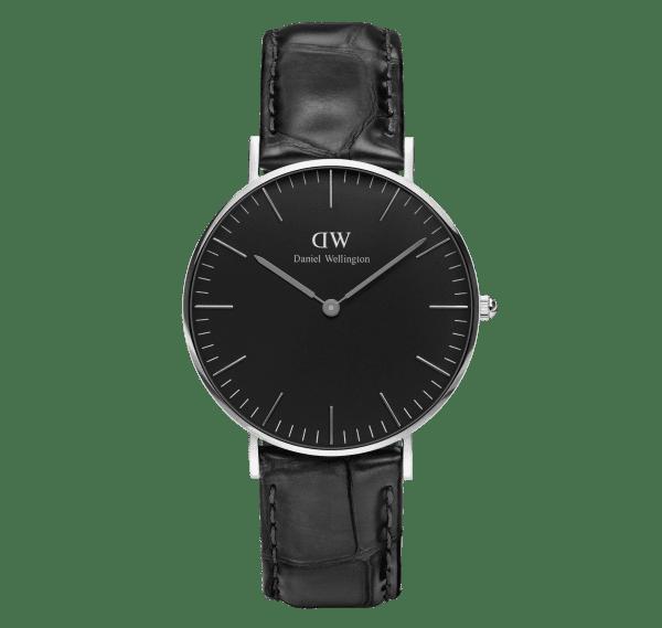 Daniel Wellington Classic Black Stainless Steel Leather Strap Reading Unisex Watch DW00100147 36mm Case
