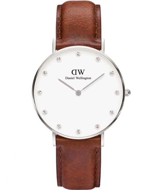 Daniel Wellington Classy St Mawes Silver Stainless Steel Case Brown Leather Strap Ladies Watch DW00100079 34mm