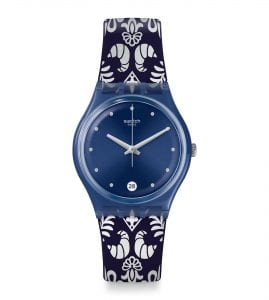 Swatch Gent Calife Quartz Blue Dial Patterned Silicone Strap Watch GN413