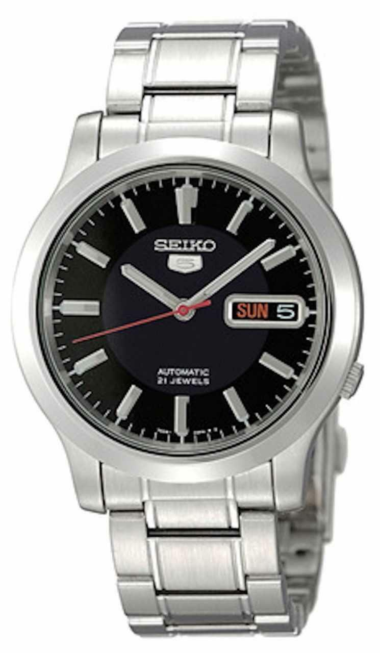 Seiko 5 Automatic Black Dial Silver Stainless Steel Men's Watch SNK795K1