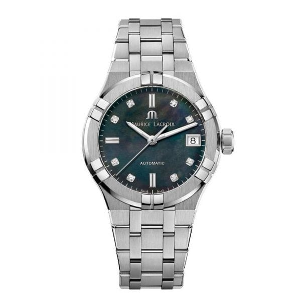 Maurice LaCroix Aikon Automatic Silver Stainless Steel Black MOP Dial Watch AI6006-SS002-370-1