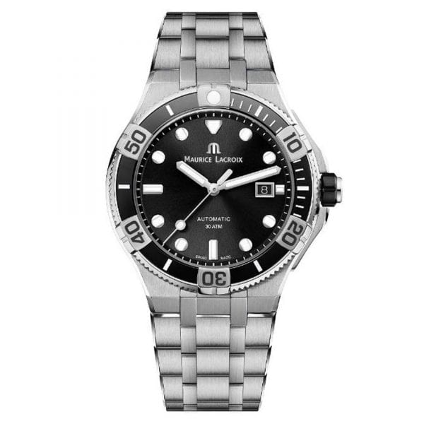Maurice LaCroix Aikon Automatic Silver Stainless Steel Black Dial Men's Watch AI6058-SS002-330-1