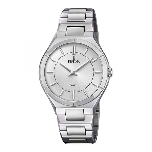 Festina Elegance Silver Stainless Steel Quartz Ladies Watch F20244/1ThisFestina Elegance Silver Stainless Steel Quartz Ladies Watch F20244/1 is a beautiful addition to a ladies wrist. A silver dial featires the ever present Festina logo just below the 12 o'clock position with the hands powered by a quartz movement. Surrounding the dial is a silver stainless steel case with precious mineral glass sat ontop. Furthermore, a silver stainless steel bracelet can then be fastened using a fold over clasp.This watch has a water resistance of 50 metres, making it suitable for surface swimming.Key Features:Elegance FamilySilver Stainless Steel BraceletSilver Stainless Steel CaseSilver DialQuartz MovementFold Over ClaspAnalogue DisplayMineral Glass50m Water ResistantThe Brand: FestinaBehind a great brand there is always a large group, and behind Festina is the Festina Group. A group that comprises five brands of watches: Festina, Lotus, Jaguar, Candino and Calypso, and two brands of jewellery: Lotus Style and Lotus Silver.
