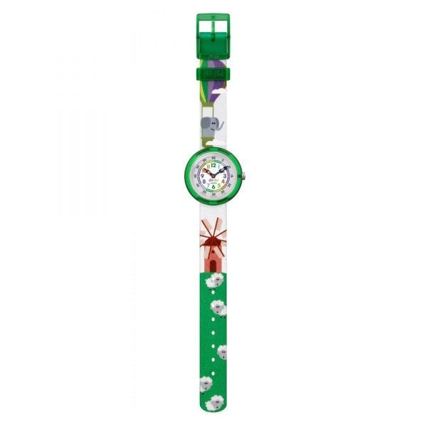 The Watch: Flik Flak Baloofant Green Plastic Case Green Textile Strap Kids' Boys Animal 2018 Summer Watch FBNP106 32mmElephant in a hot air balloon on the strap means this Flik Flak Baloofant Kids' Watch (FBNP106) makes a playful and charming addition to any child's wrist. Key Features:Quartz MovementFabirc StrapPlastic CaseShockproof The Brand: Flik FlakFlik Flak are the world's favourite children's watches. Founded in 1987, the brand is a division of the Swatch group, with its use of the brother and sister pairing of Flik and Flak throughout the collection ensuring that learning to tell the time remains fun and entertaining.