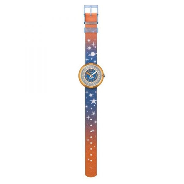 The Watch: Flik Flak Staryway Orange Plastic Case Orange Textile Strap Kids' Boys Girls Stars 2017 Winter Watch FPNP018 32mmThis Flik Flak Staryway Kids' Boys Girls Watch (FPNP018) is perfect for awakening their sense of adventure. The glow in the dark comet-themed dial will have them checking the time under the duvet, will its shock and water resistance means you don't have to worry. Key Features:Quartz MovementGlow in the Dark Comet DialPlastic CaseFabirc StrapWater Resistant to 30mShockproof The Brand: Flik FlakFlik Flak are the world's favourite children's watches. Founded in 1987, the brand is a division of the Swatch group, with its use of the brother and sister pairing of Flik and Flak throughout the collection ensuring that learning to tell the time remains fun and entertaining.