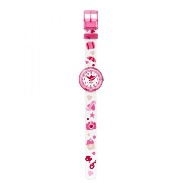 Flik Flak Summer Fun Kids' Girls Pink Plastic Case Pink Textile Strap 2018 Summer Watch FPNP027 32mm