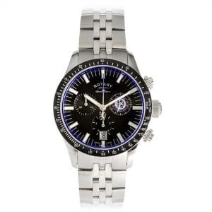 Rotary Special Edition Chelsea F.C. Black Stainless Steel Case Silver Stainless Steel Strap Men's Watch GB90048/04 40mm