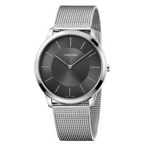 Calvin Klein Minimal Black Dial Silver Stainless Steel Unisex Watch K3M2T124 43mmThis Calvin Klein Minimal Black Dial Silver Stainless Steel Unisex Watch K3M2T124 43mm is a masterful addition to the minimal collection. A black dial is complimented by silver coloured indexes and hands, which in turn are powered by a quartz movement. Below the 12 o'clock position is the classic Calvin Klein logo. Around the edge of the dial is a polished silver stainless steel case with mineral glass sitting ontop. A mesh silver stainless steel bracelet sits comfortably around ones wrist.This watch has a water resistance of 30 metres, making it suitable for light splashes. Key Features:Black DialSilver Stainless Steel CaseMineral GlassSilver Mesh Stainless Steel BraceletAnalogue DisplayQuartz Movement30m Water ResistantThe Brand: Calvin KleinCalvin Klein is one of the truly iconic cultural forces to emerge from the twentieth century. Based on bold, progressive thinking and seductively minimal aesthetic, the company was founded as a Manhattan coat shop by its namesake in 1968, and has since become a global lifestyle phenomenon. In line with this design mission is Calvin Klein's range of timepieces. Defined by their trademark simplicity and constantly evolving to match contemporary trends, the collection allows the wearer to sport a fashion legend proudly on their wrist.