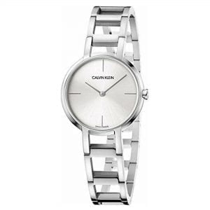 Calvin Klein Cheers Collection Ladies Watch K8N23146This Swiss-made Calvin Klein watch, is built to the highest quality with a beautiful silver sunray dial, complete with silver hands and indices. The Calvin Klein logo is delicately inscribed on watch face. This elegantly minimalistic designed watch features a silver stainless steel bracelet with a fold over clasp. The silver styling of this watch makes for a bold piece, perfect for any occasion. Calvin Klein Cheers FamilyEssential. Sophisticated. Calvin Klein cheers. This new timepiece calls to mind the brand's urban American roots through its skyline-inspired design. Geometric shapes in repetitive succession create a jewelry-inspired watch that is complemented with refined polished finishing. Key Features:Movement - QuartzCase size - 32mm Clasp Type - Deploy ClaspWater Resistant -  30mGlass - Mineral Strap Type: Bracelet  The Brand: Calvin KleinCalvin Klein is one of the truly iconic cultural forces to emerge from the twentieth century. Based on bold, progressive thinking and seductively minimal aesthetic, the company was founded as a Manhattan coat shop by its namesake in 1968, and has since become a global lifestyle phenomenon. In line with this design mission is Calvin Klein's range of timepieces. Defined by their trademark simplicity and constantly evolving to match contemporary trends, the collection allows the wearer to sport a fashion legend proudly on their wrist.