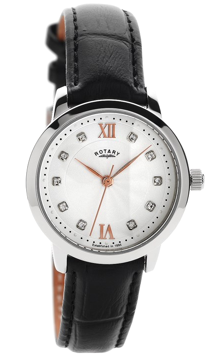 Rotary Classic Silver Dial Black Leather Strap Quartz Ladies Watch LS42825/21