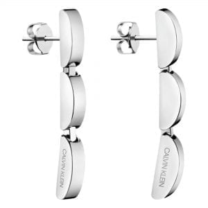 Calvin Klein Wavy Silver Stainless Steel Drop Earrings KJAYME000200