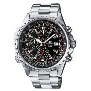 Casio Edifice Quartz Black Dial Silver Stainless Steel Chronograph Men's Watch EF-527D-1AVEF