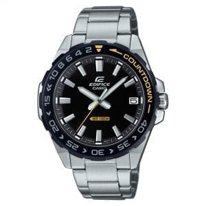 Casio Edifice Quartz Silver Stainless Steel Black Dial Countdown Bezel Men's Watch EFV-120DB-1AVUEF